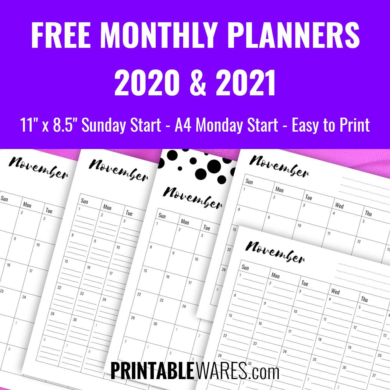 Monthly Planner Printable Pdf Templates 2021, Free