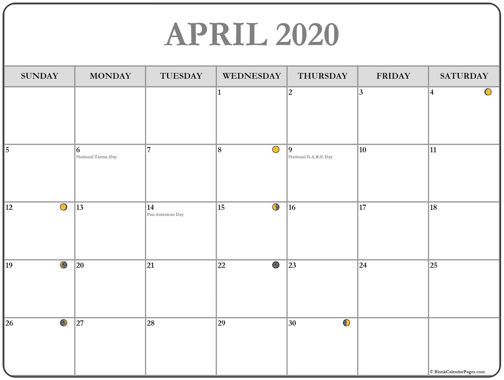 Moon Calendar Template April 2020 | Moon Calendar, Moon