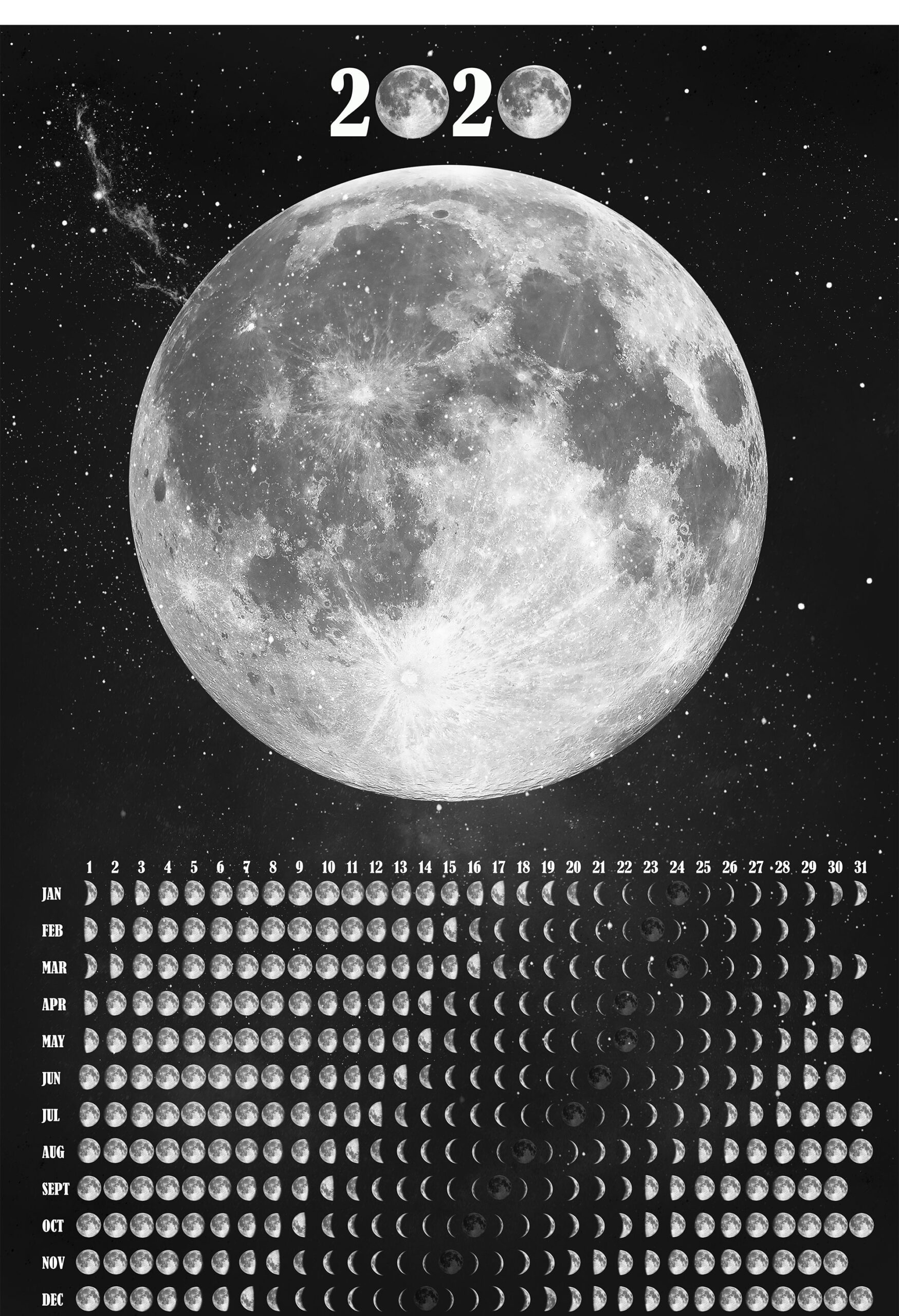 Moon Phases Wall Calendar 2021 Lunar Calendar Moon Phase