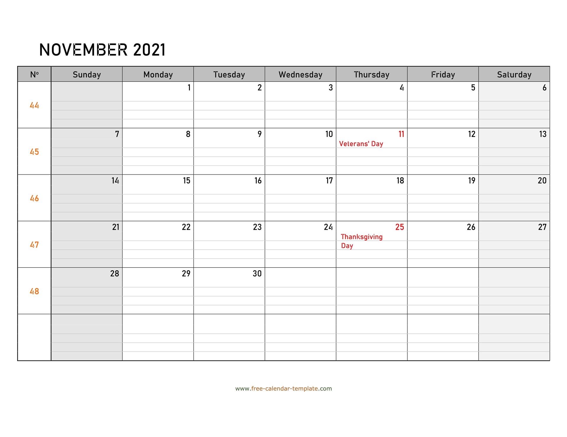 November 2021 Calendar Free Printable With Grid Lines