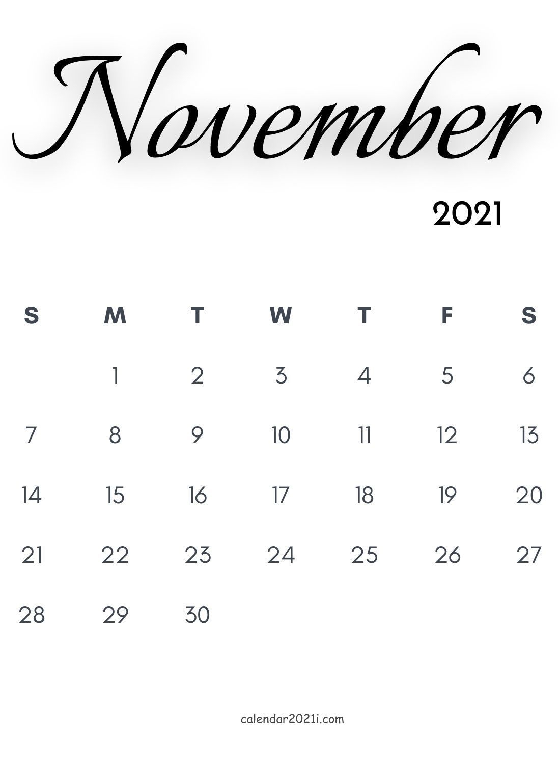 November 2021 Calligraphy Calendar Free Download | Free