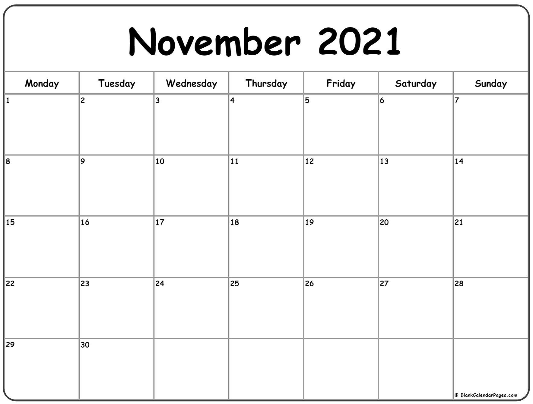 Monday Thru Friday Calendar November 2021