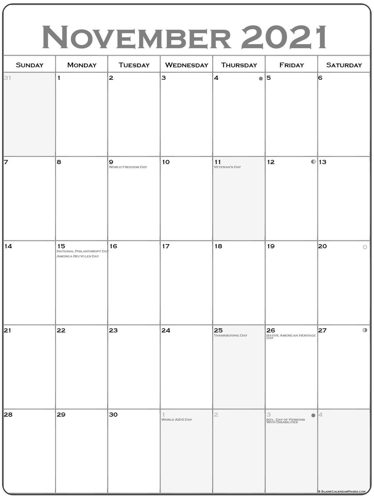 November 2021 Vertical Calendar | Portrait