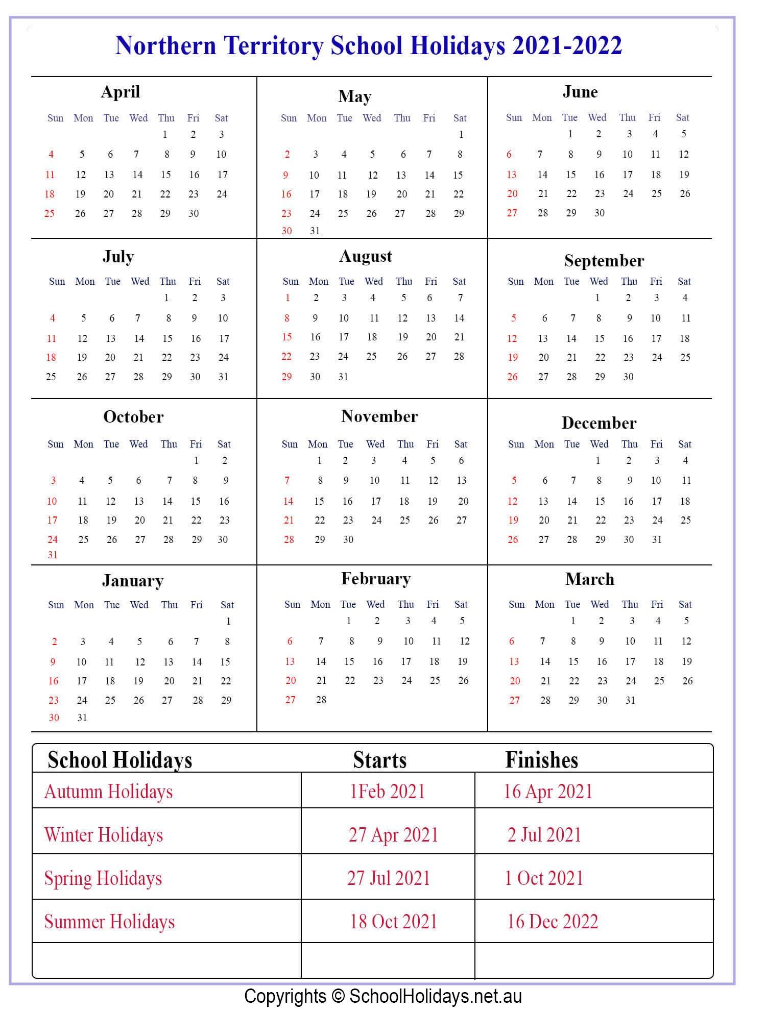 Nt *School Holidays* 2021 [Northern Territory ]❤️