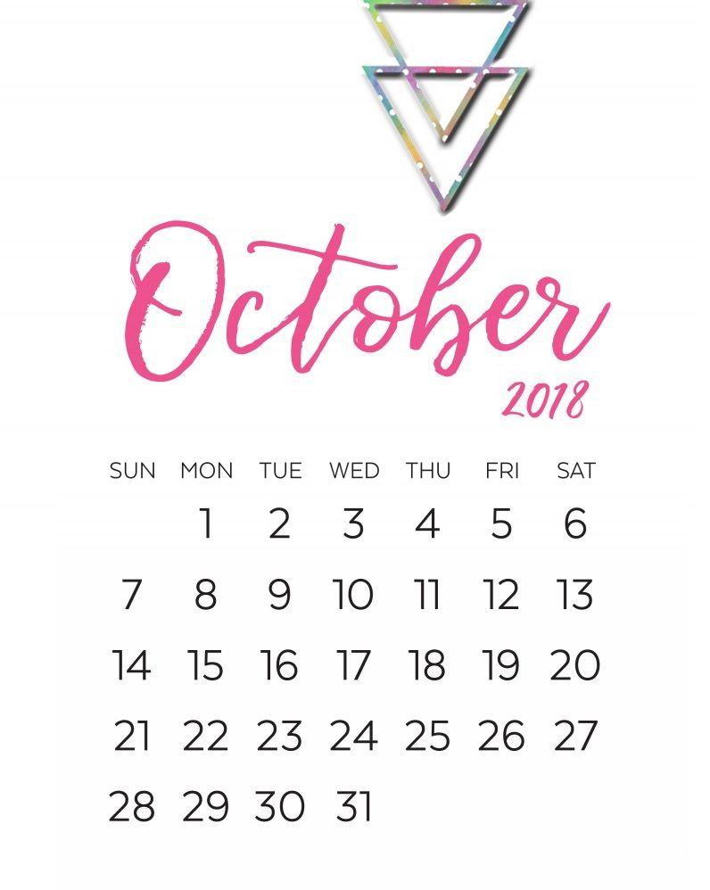 October 2018 Calligraphy Calendar Printable | Calendar