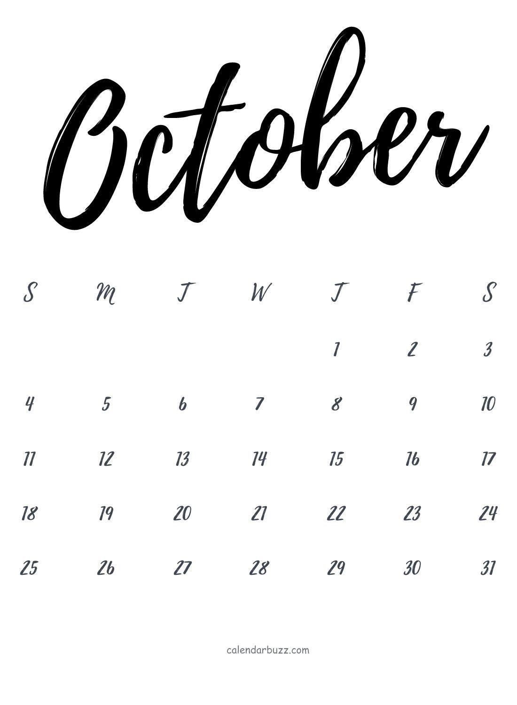 October 2020 Calligraphy Calendar Printable Template Free