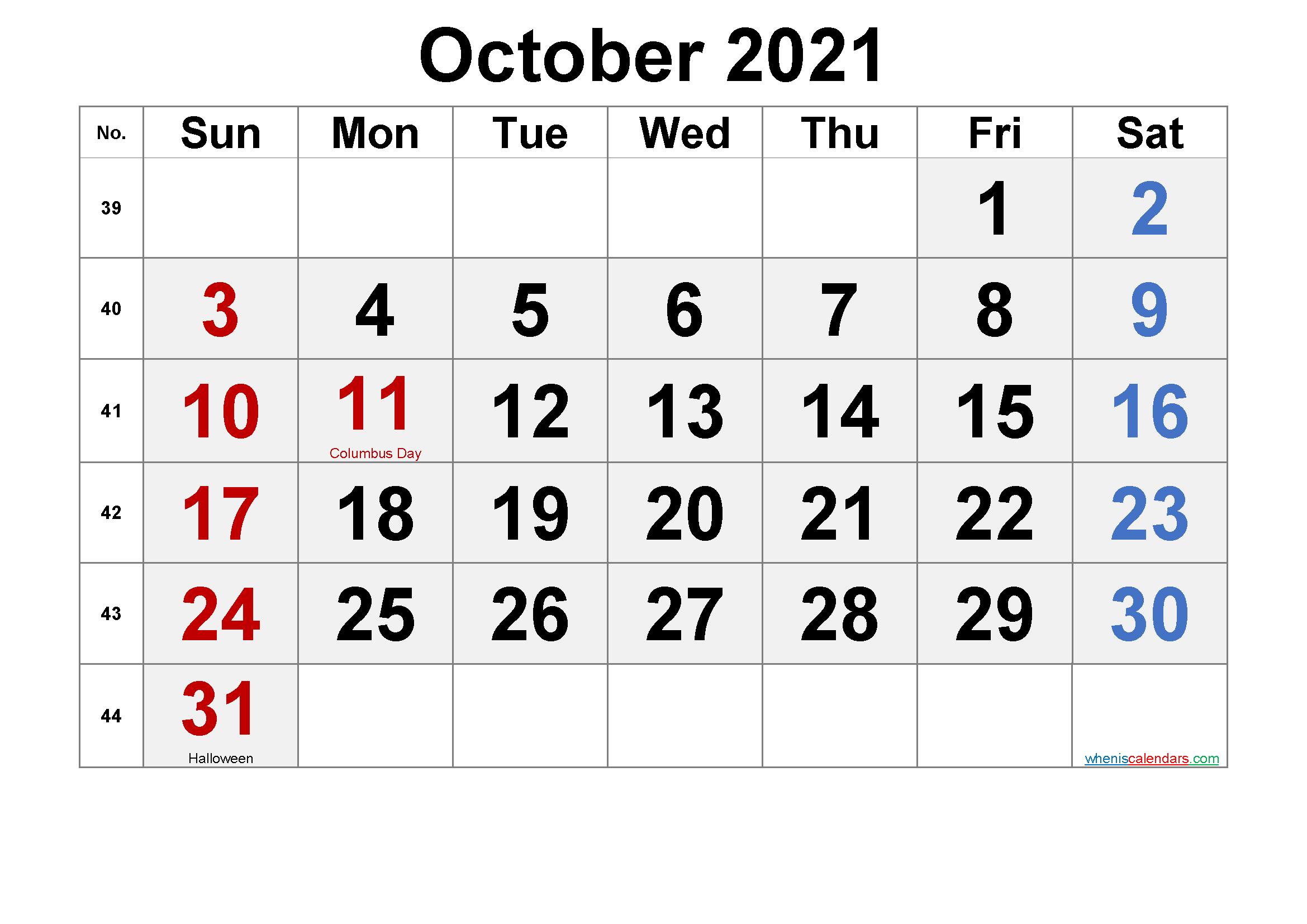 October 2021 Calendar With Holidays Printable-Template No