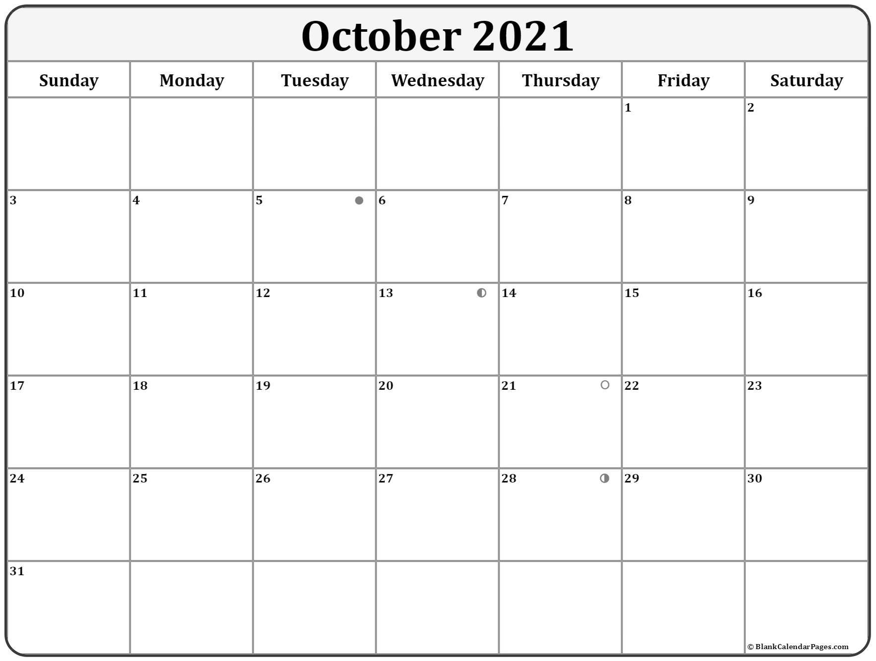 October 2021 Lunar Calendar | Moon Phase Calendar