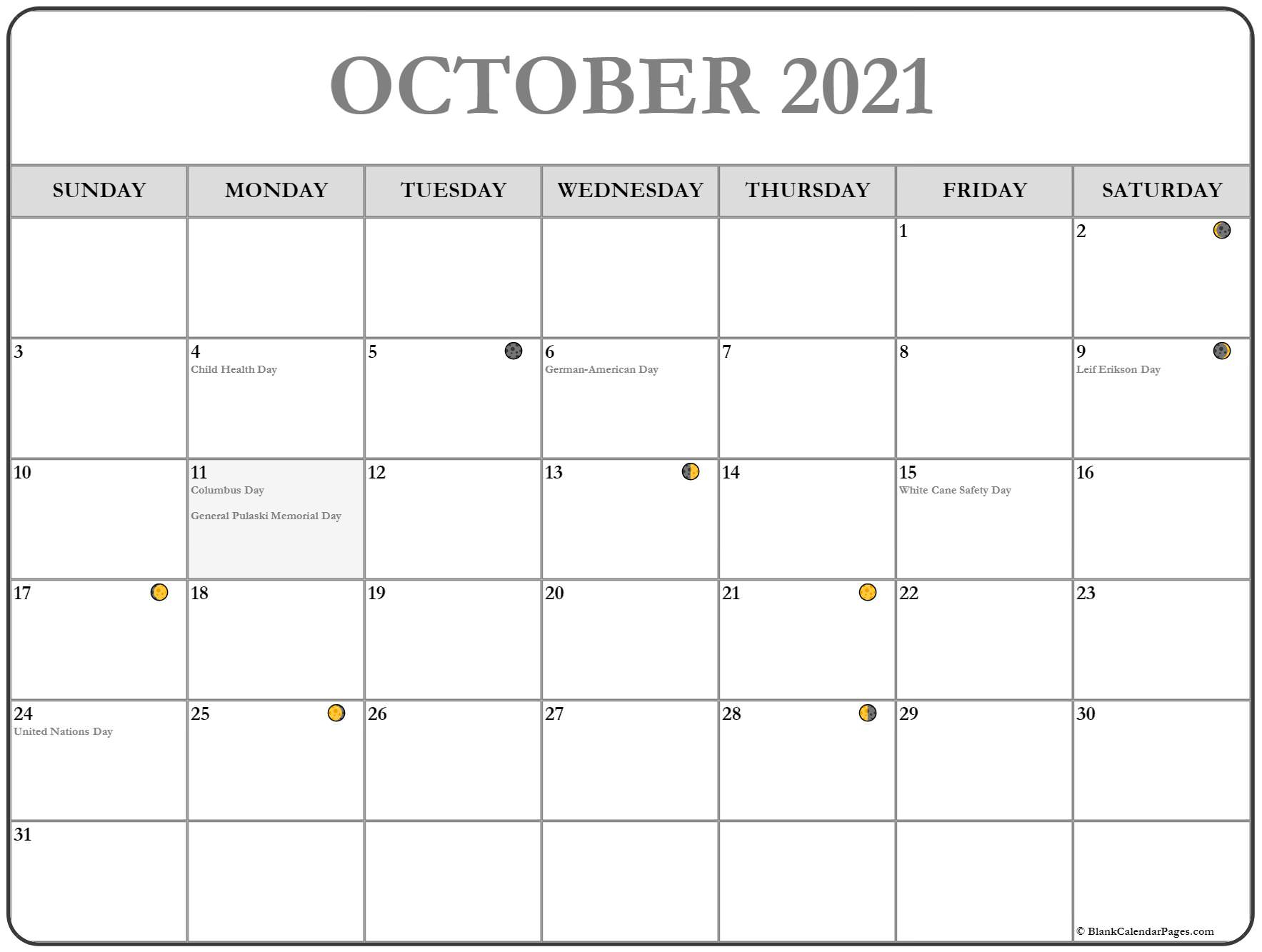 October 2021 Lunar Calendar | Moon Phase Calendar