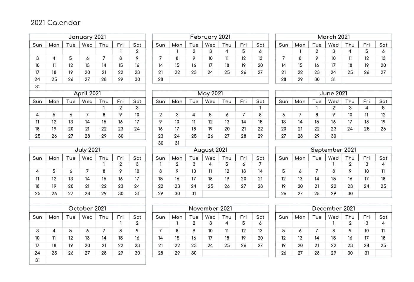 Pdf 2021 Calendar Printable | 2021 Calendar Pdf Template