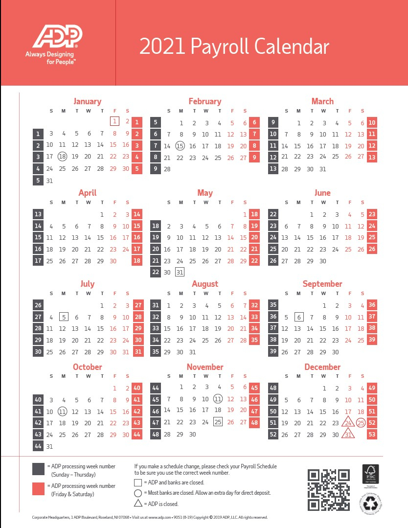 Free Printable Payday Calendars 2021