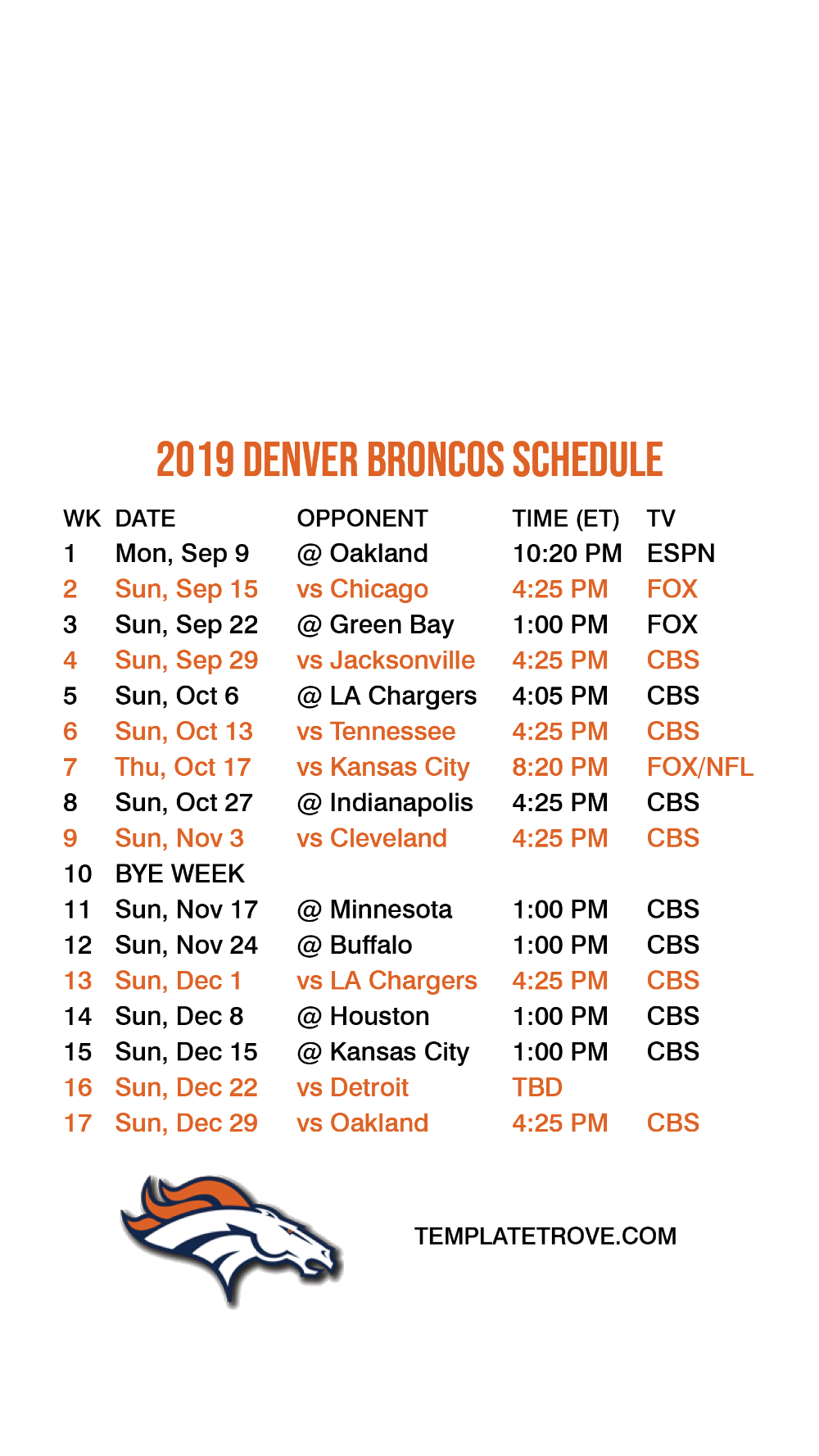 2021 Nfl Printable Schedules