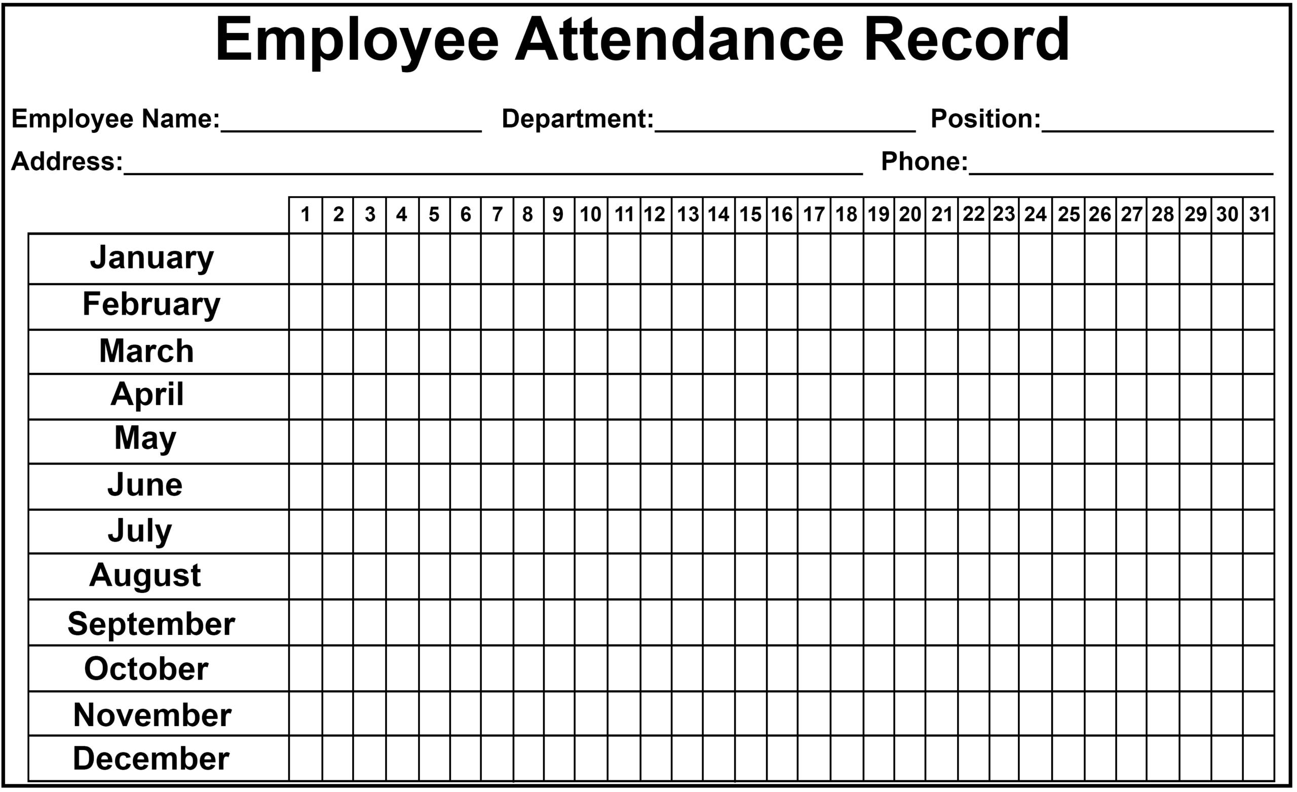 Pin On Employee Attendance Sheet
