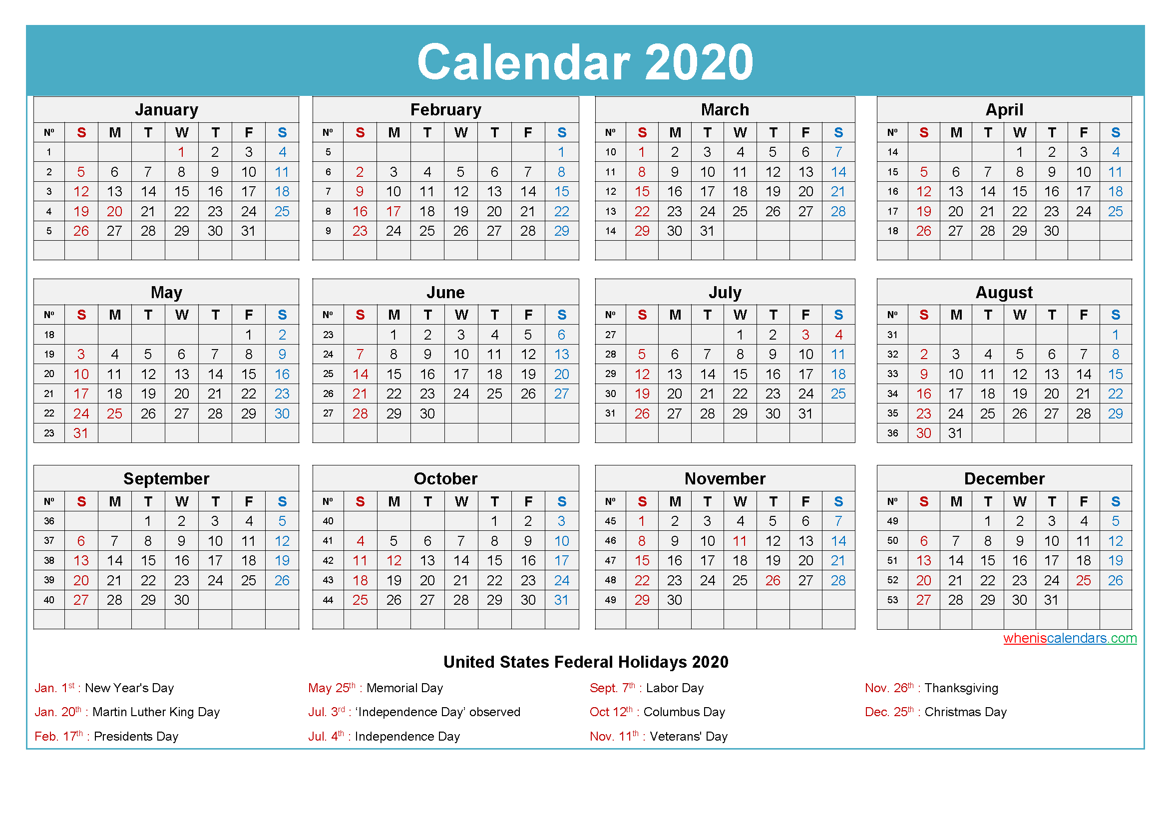 Plan For A Successful 2020 With Printable Calendar 2020 | By