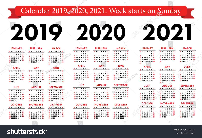 Pocket Calendar 2019, 2020, 2021 Set. Basic Simple Template