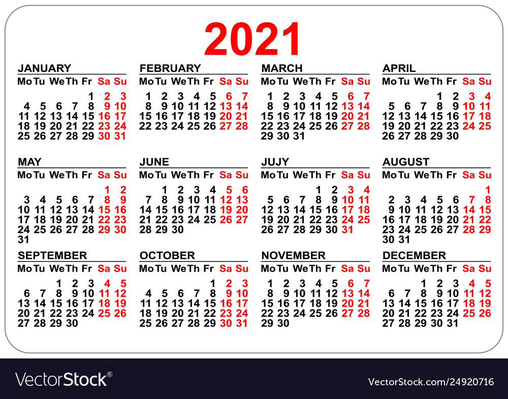 Pocket Calendar 2021 Grid Template Isolated On Vector Image