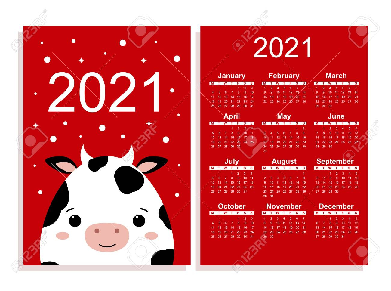 Pocket Calendar 2021. Planner With 12 Months. Chinese New Year..