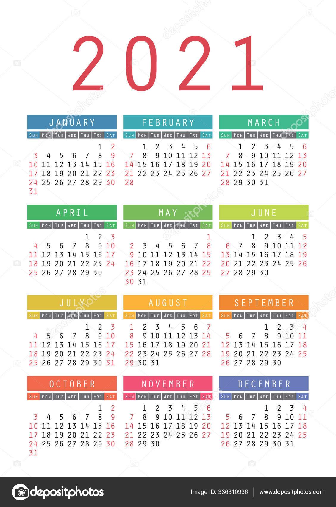 Pocket Calendar 2021 Year. Vector Wall Calender Template. Simple 336310936