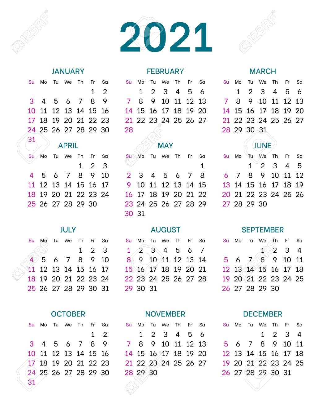 Pocket Calendar Layout For 2021 Year. English Template With Dates..