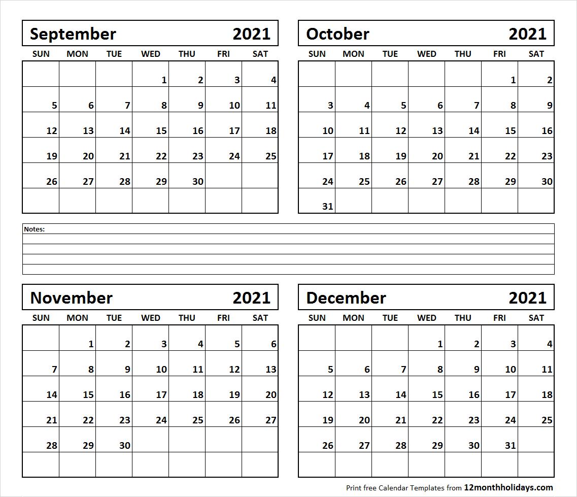 Sept To Dec 2021 Calendar