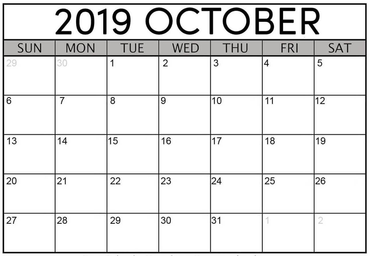 Print October 2019 Calendar Template Monthly