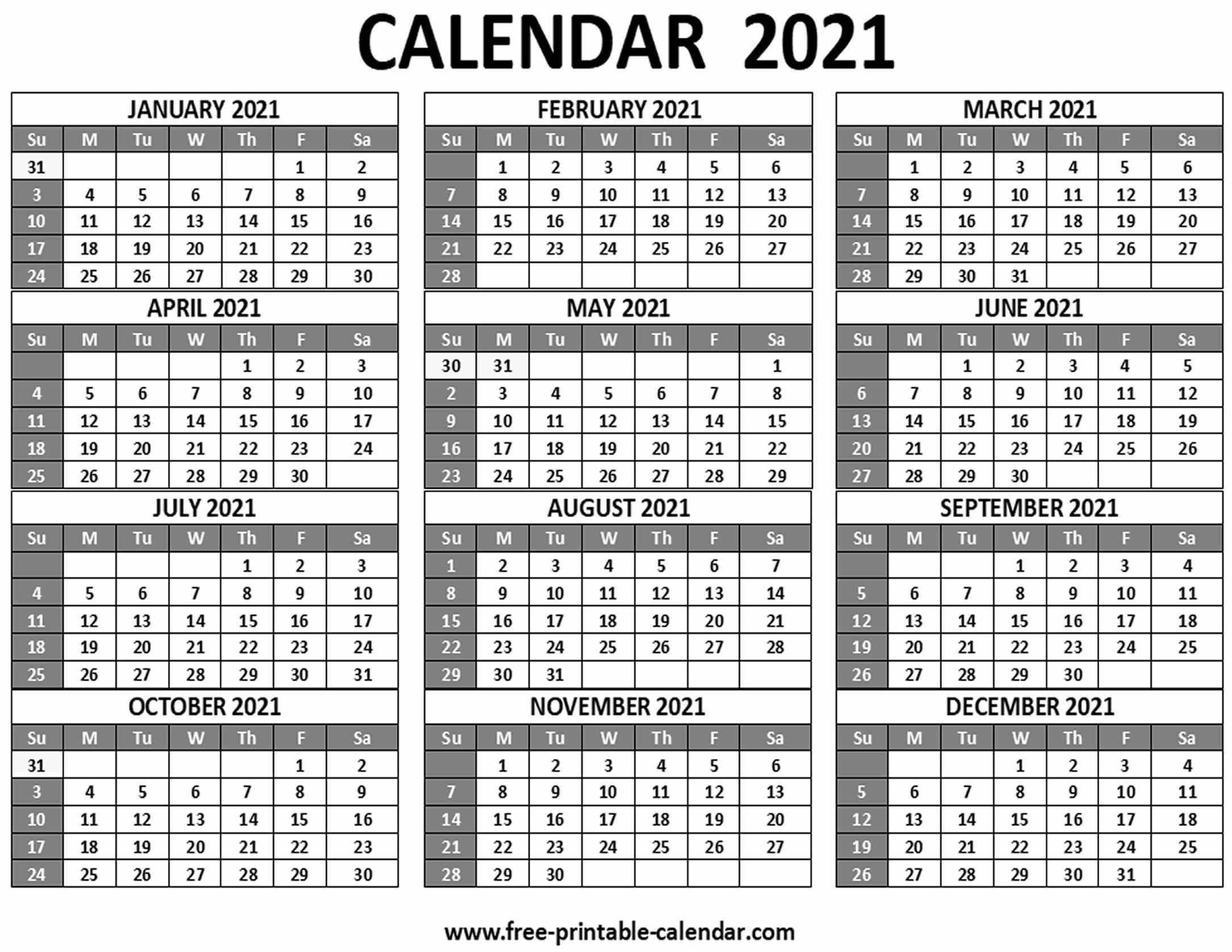 2021 Free 12 Month Printable Monthly Calendar