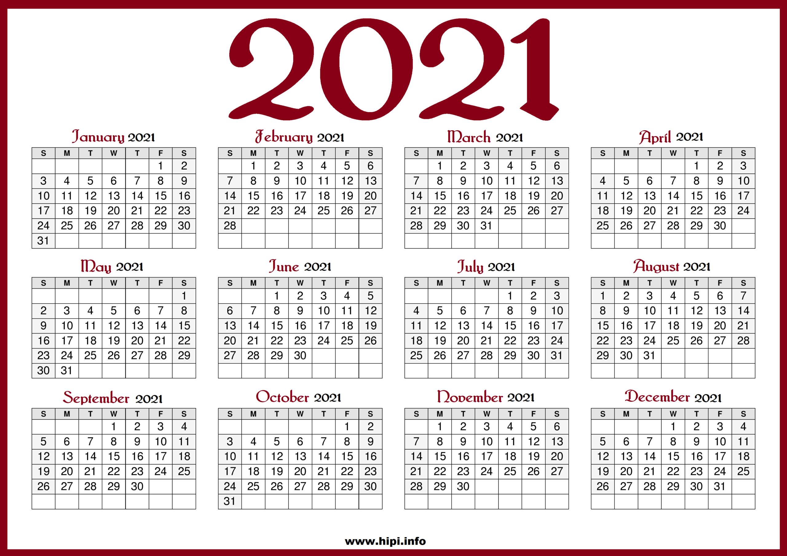 Printable 2021 Calendar With Us Holidays - Red Color - Hipi