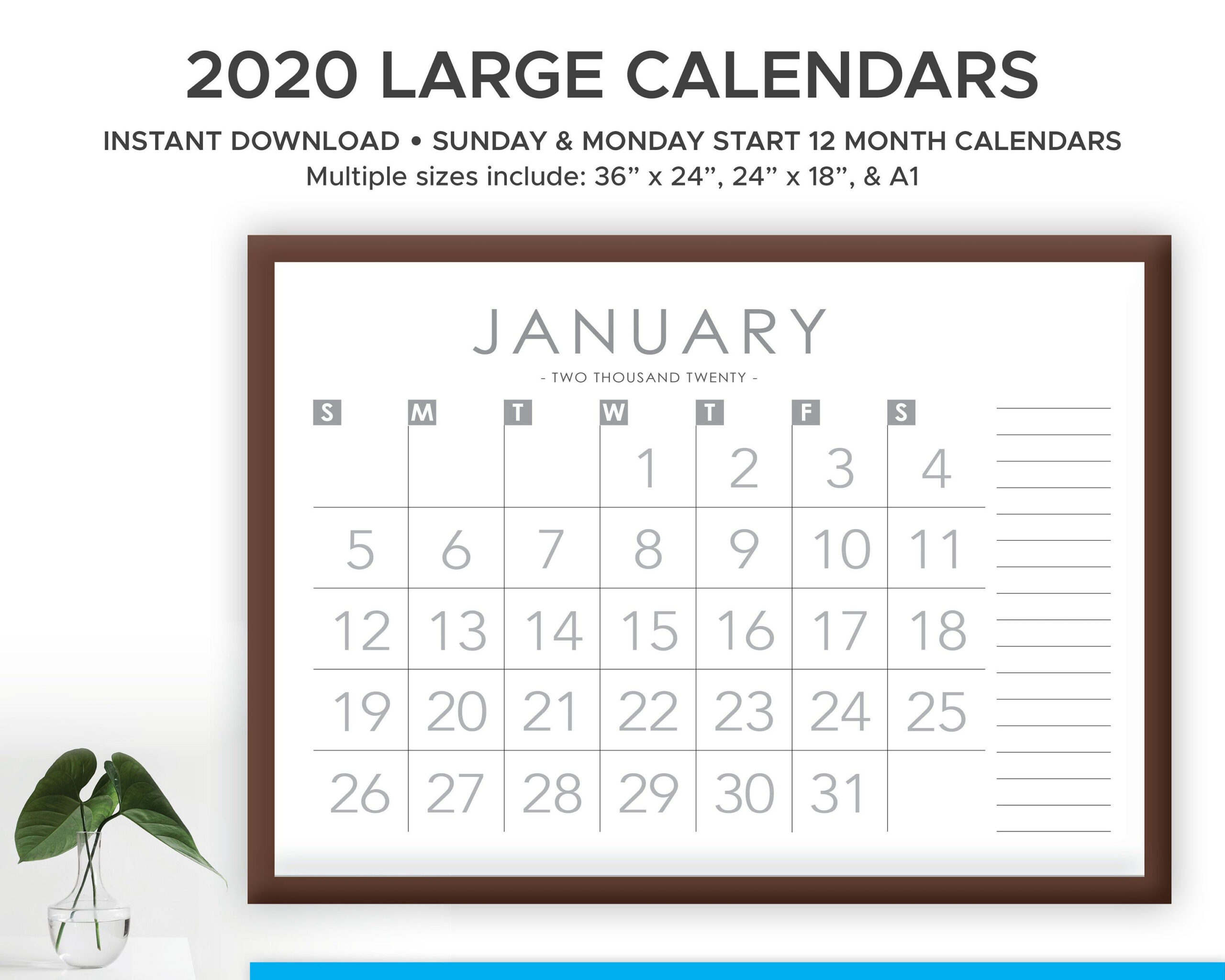 Printable 2021 Large Print Modern Monthly Wall Calendar With