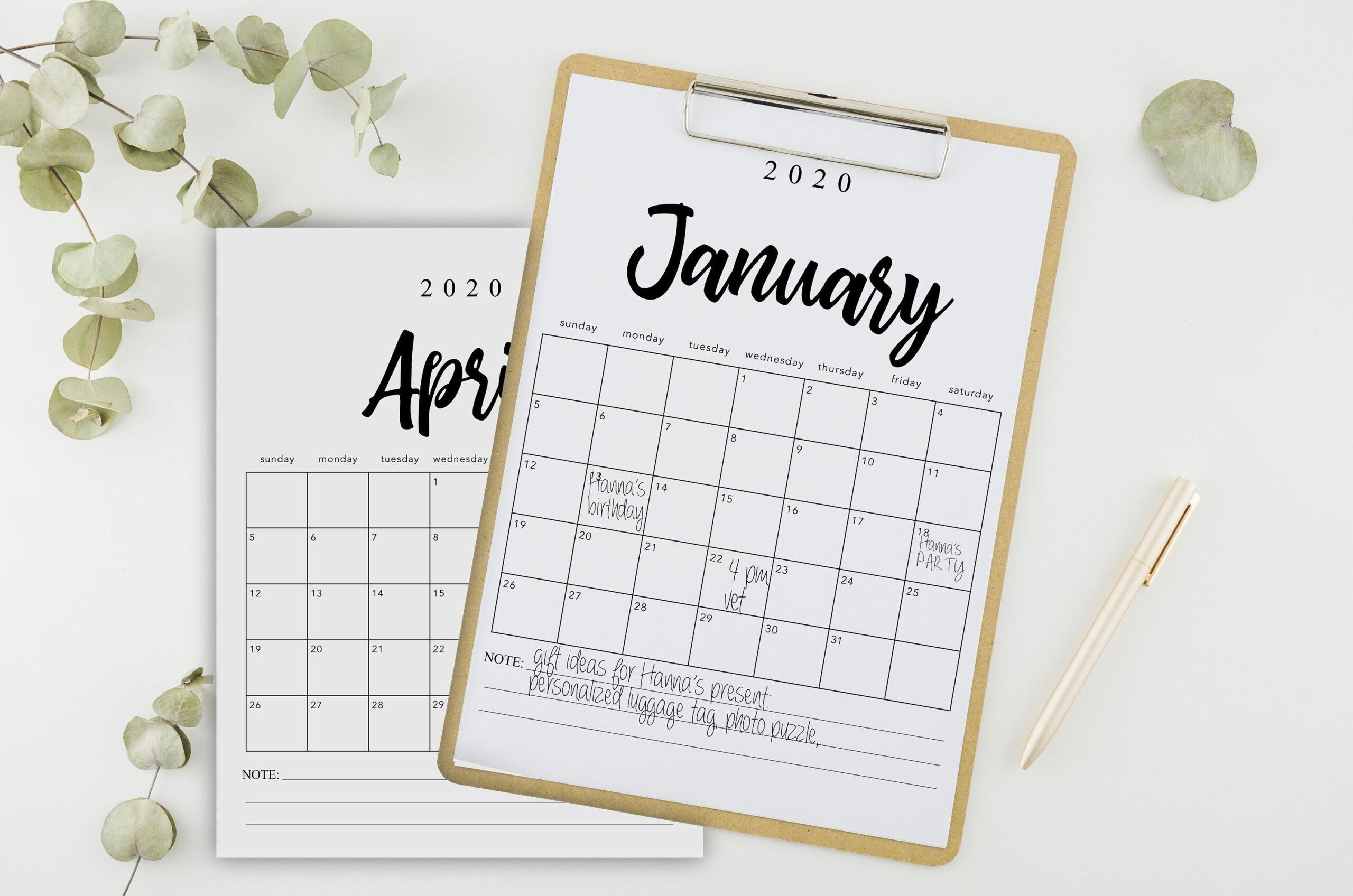Printable Calendar 2020, Minimalist, Calligraphy, Printable