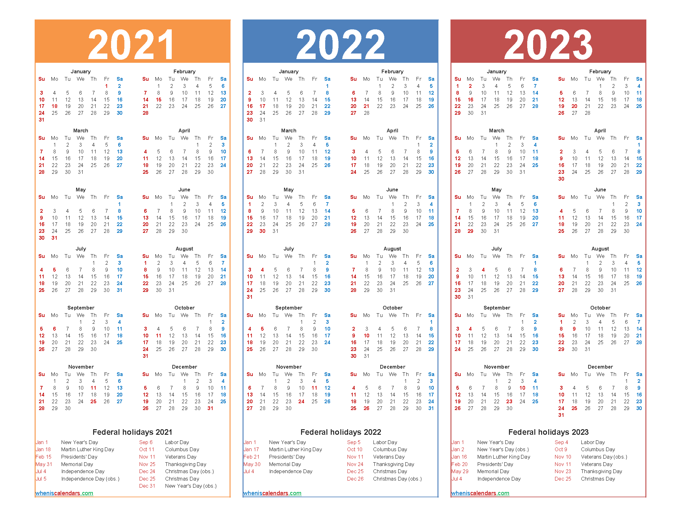 Printable Calendar 2021 And 2022