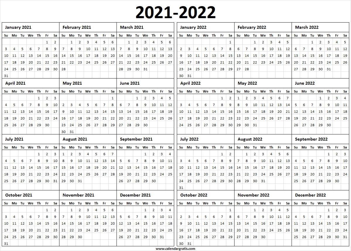 Printable Calendar 2021 Template For School | 2021 2022