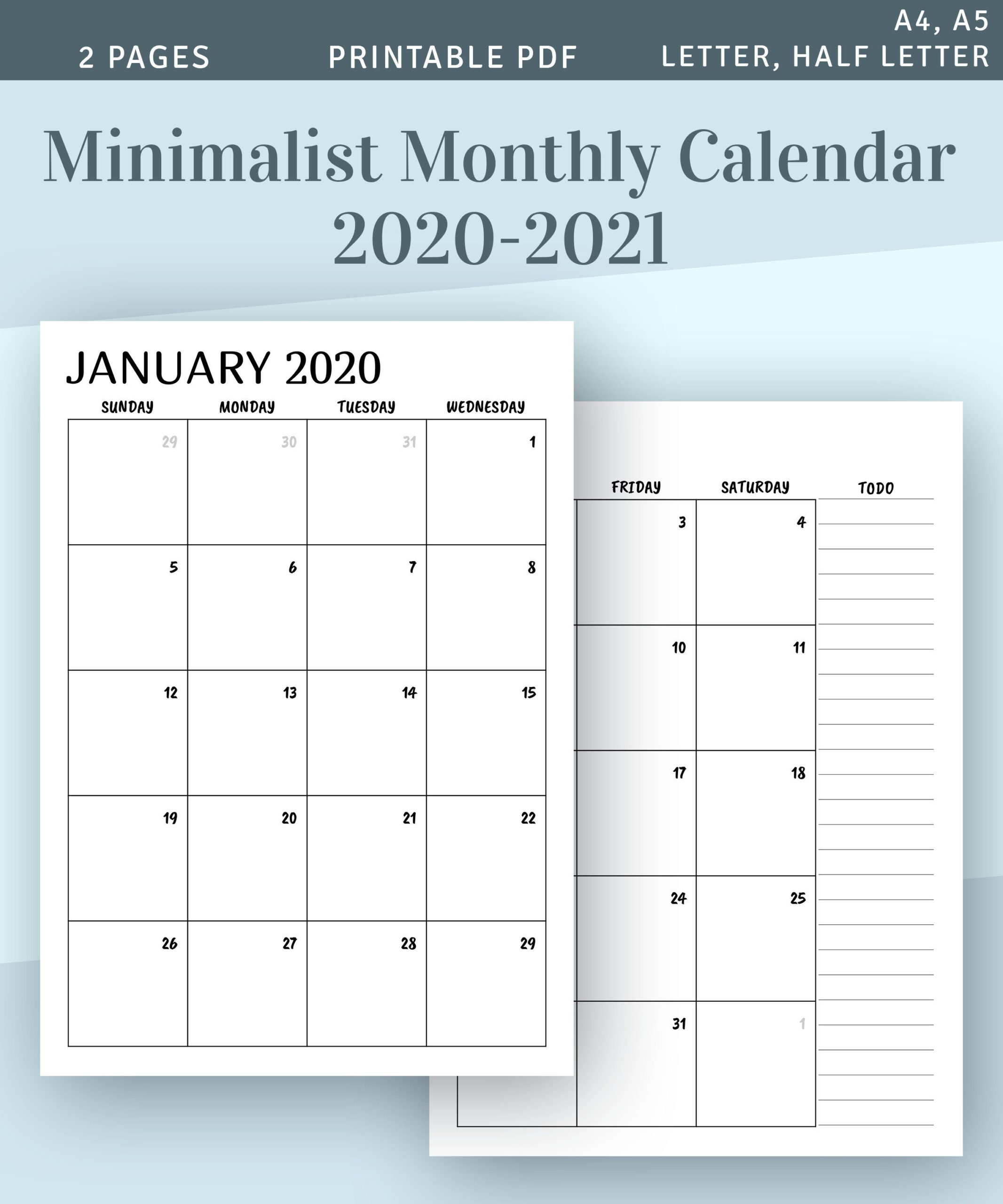 Printable Calendar Monthly 2020 2021 Month On Two Page