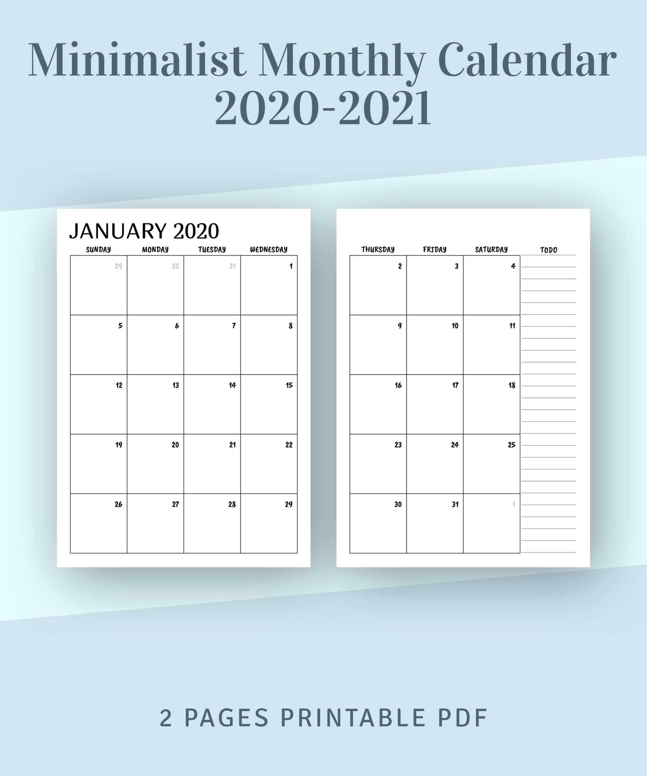 Printable Calendar Monthly 2021 2022, Month On Two Page