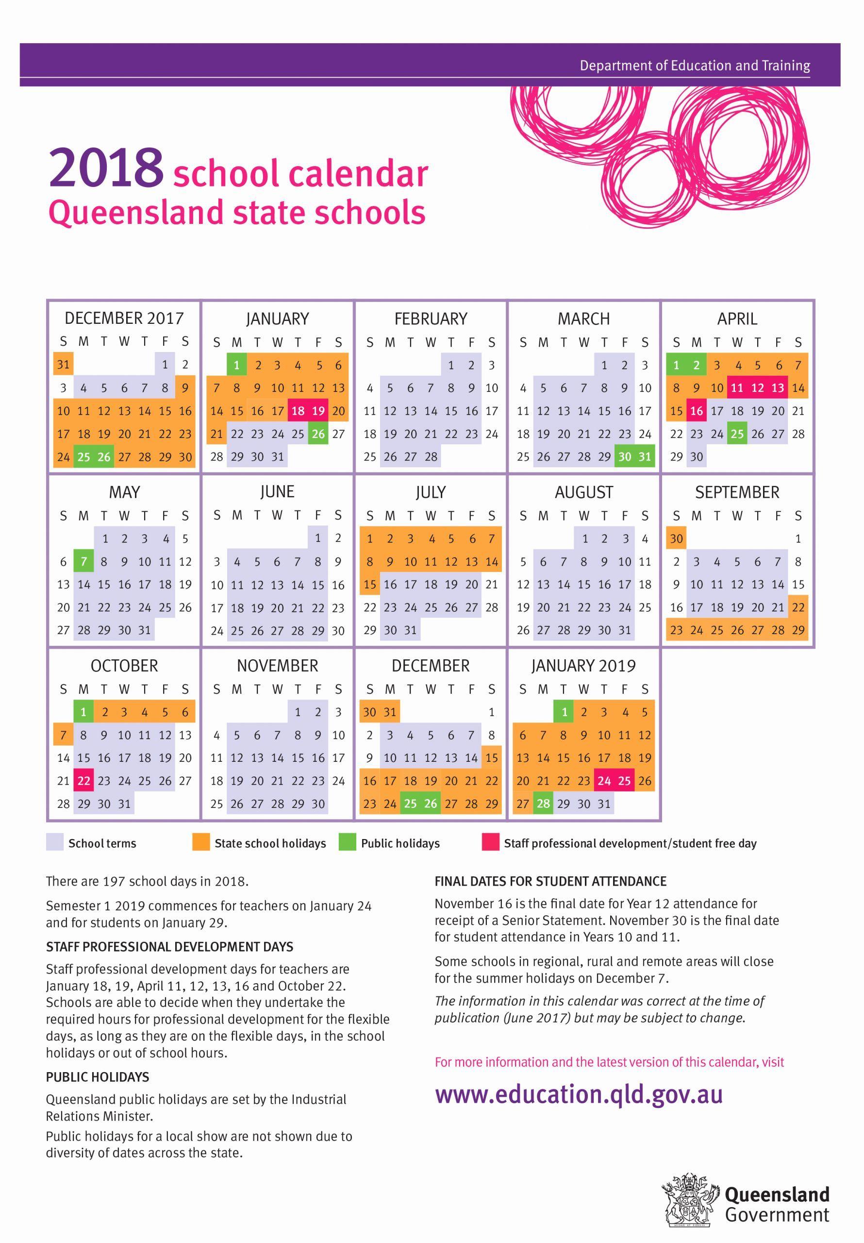 Printable Calendar Queensland 2019   School Calendar, State