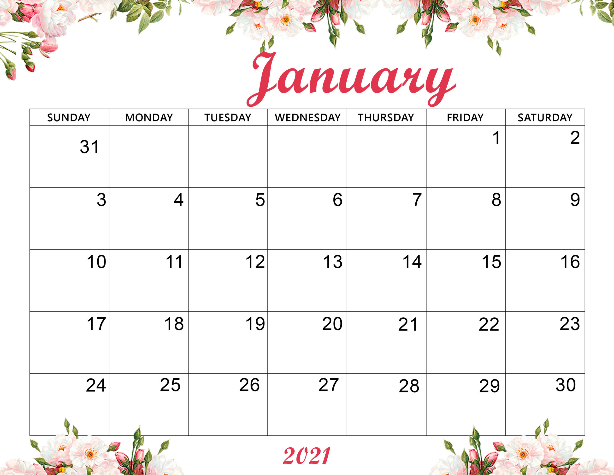 Printable Cute January 2021 Calendar Wallpaper - Printable
