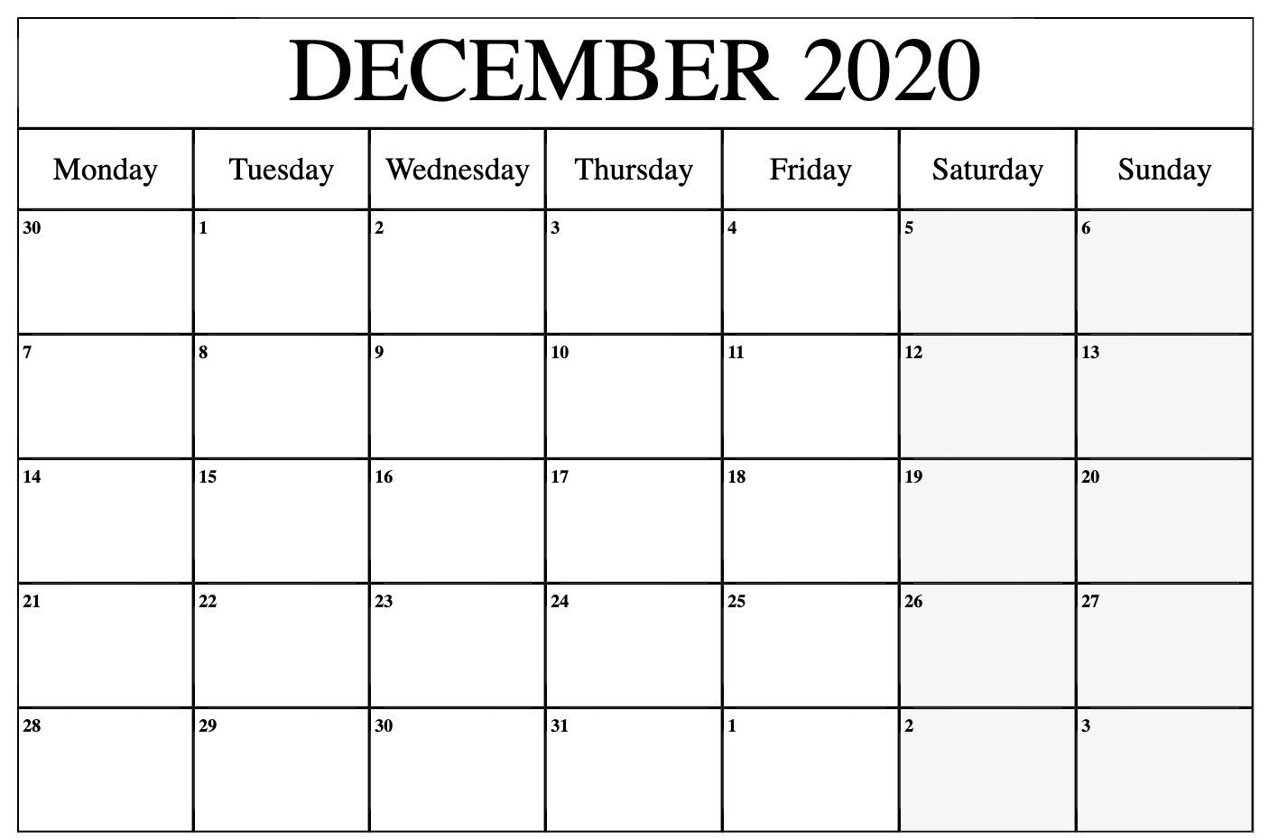 Printable December 2020 To March 2021 Calendar   Monthly