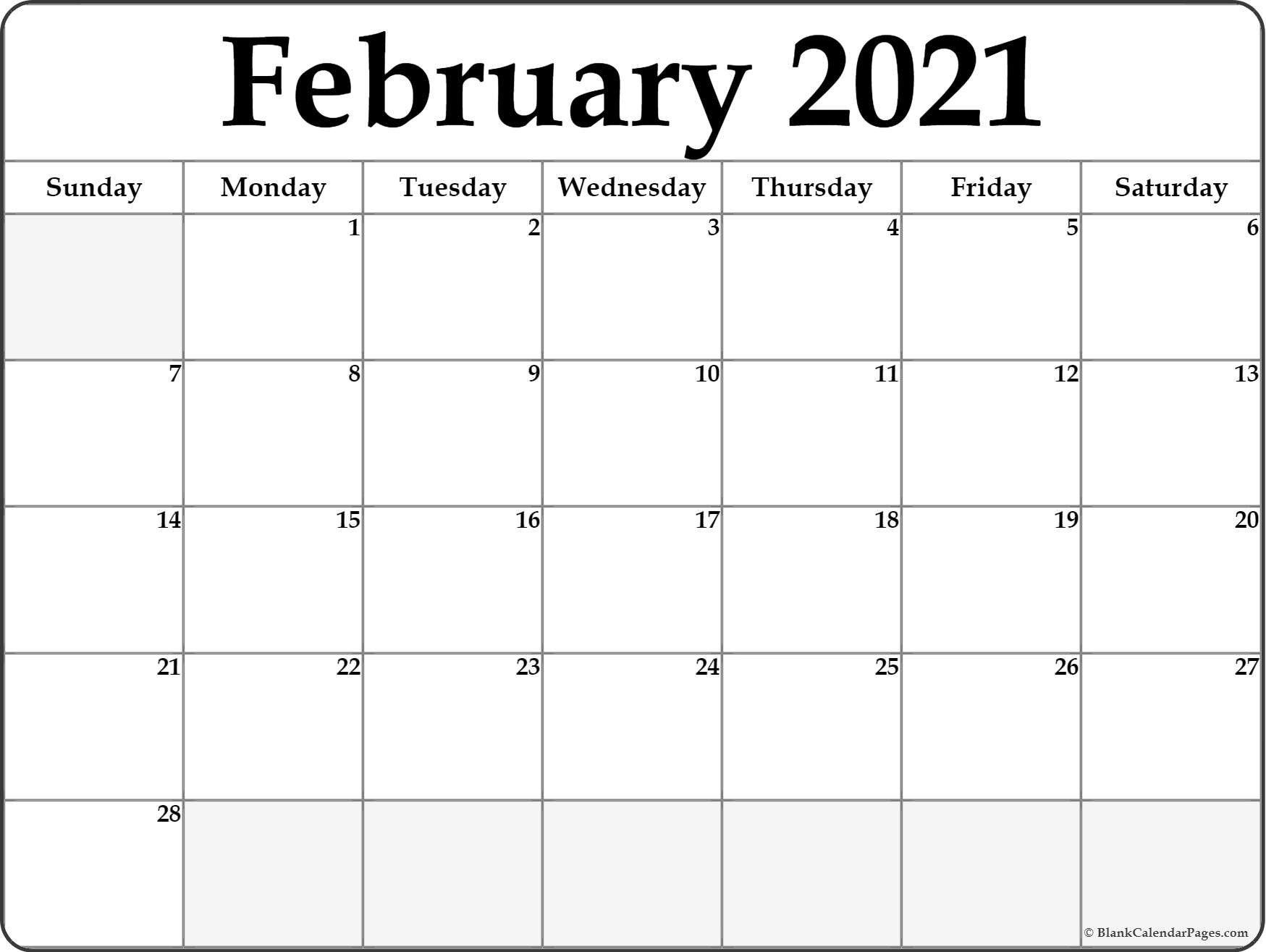Printable February 2021 Calendar | February Calendar, Blank