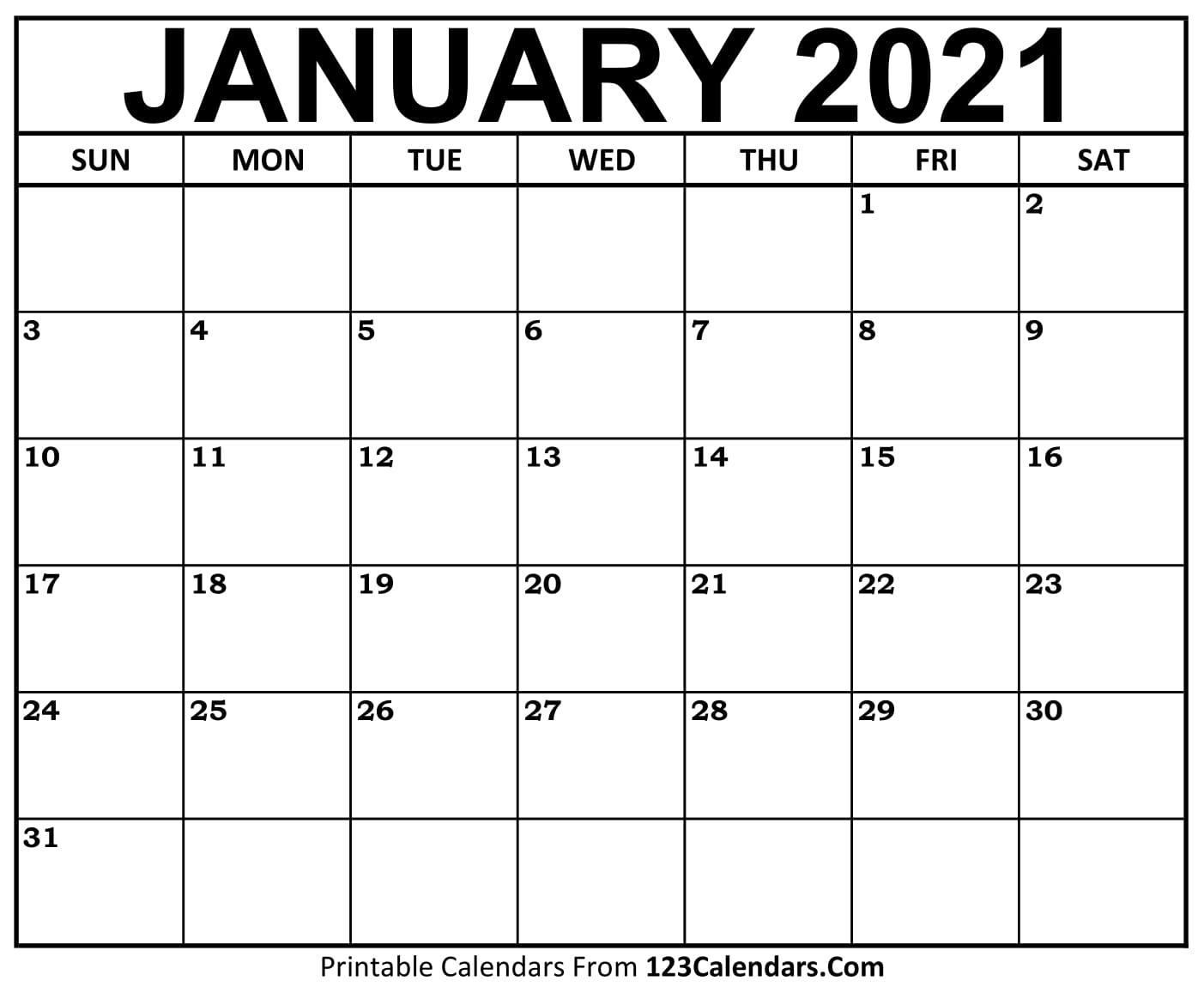 Printable January 2021 Calendar Templates | 123Calendars