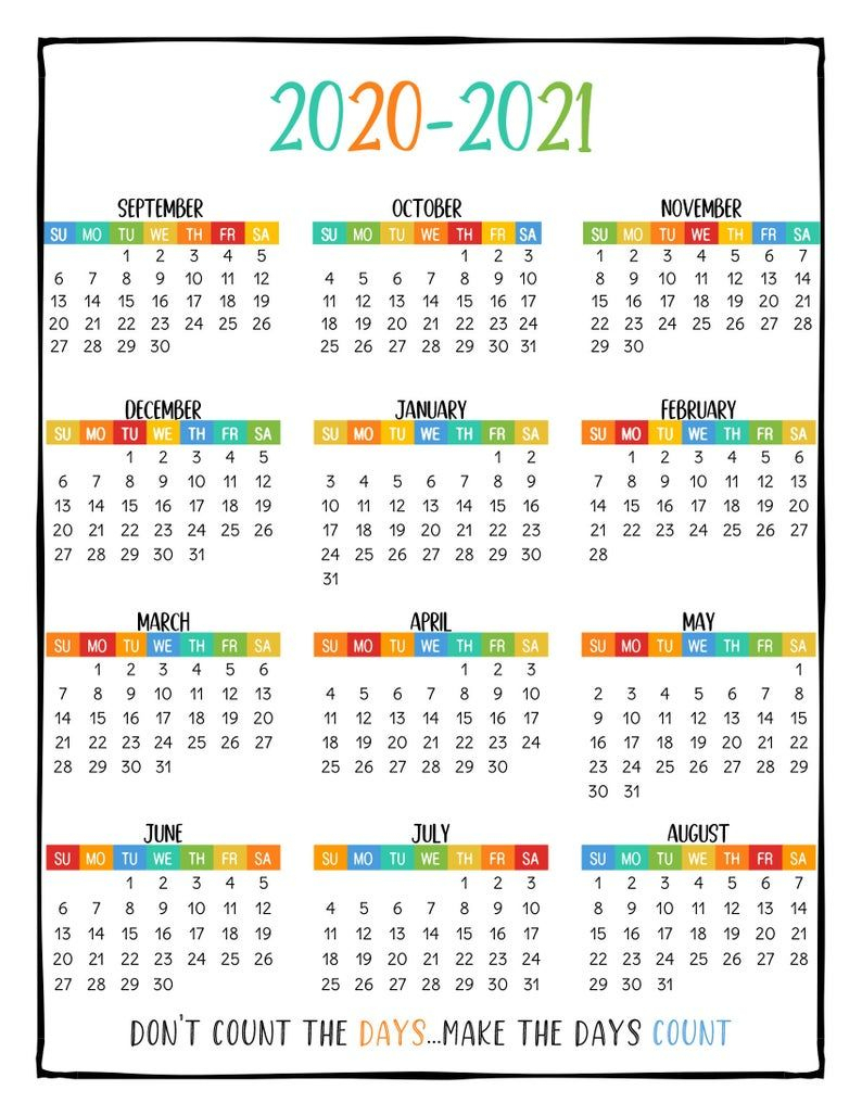Printable School Year Calendar At A Glance 2020-2021 Wall
