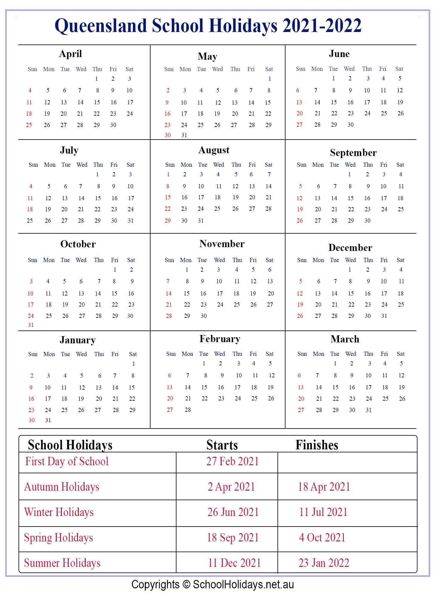 Education Qld 2021 School Calendar