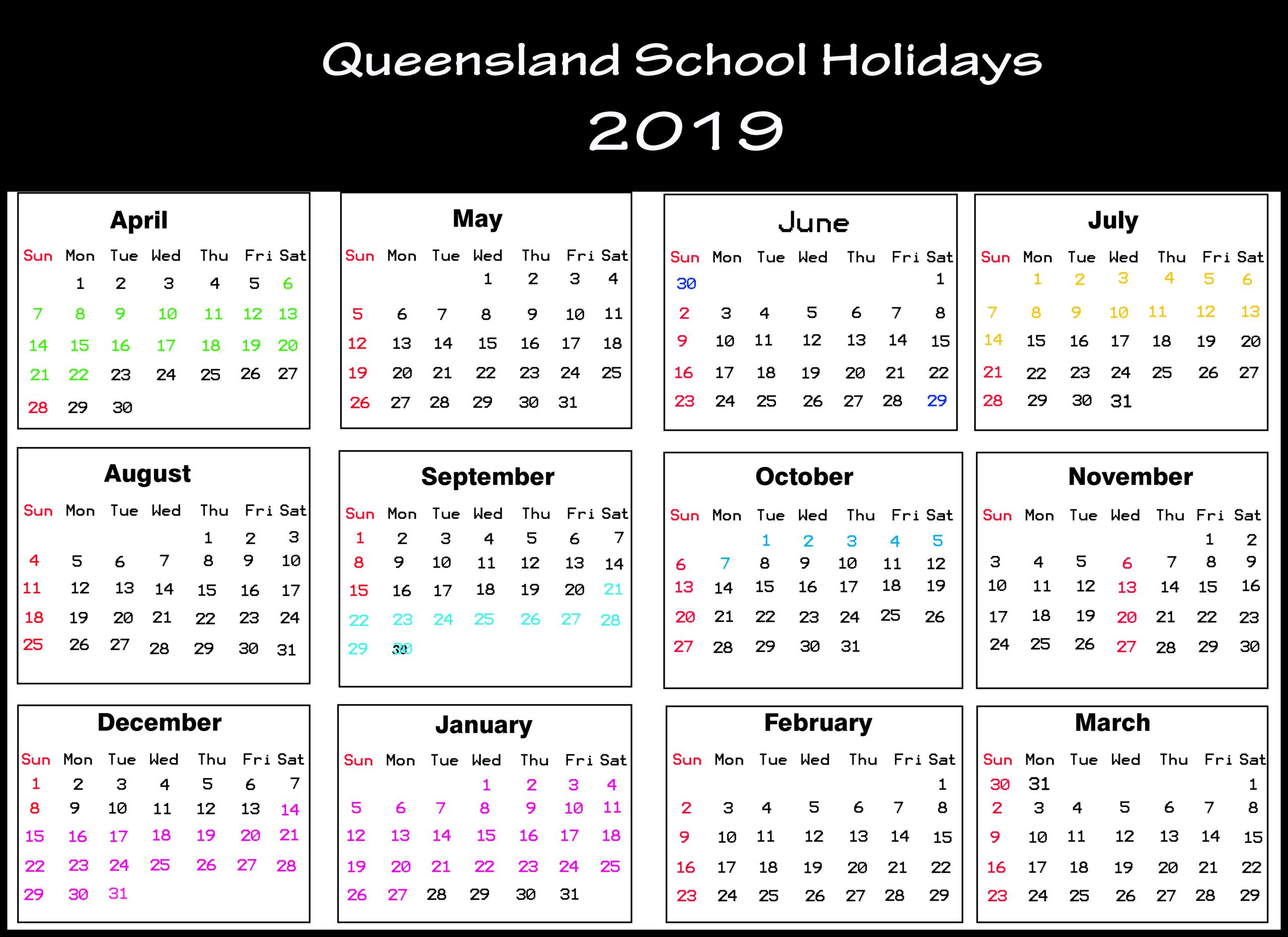 Qld School Holidays Calendar 2019 [Holiday Dates 2019]