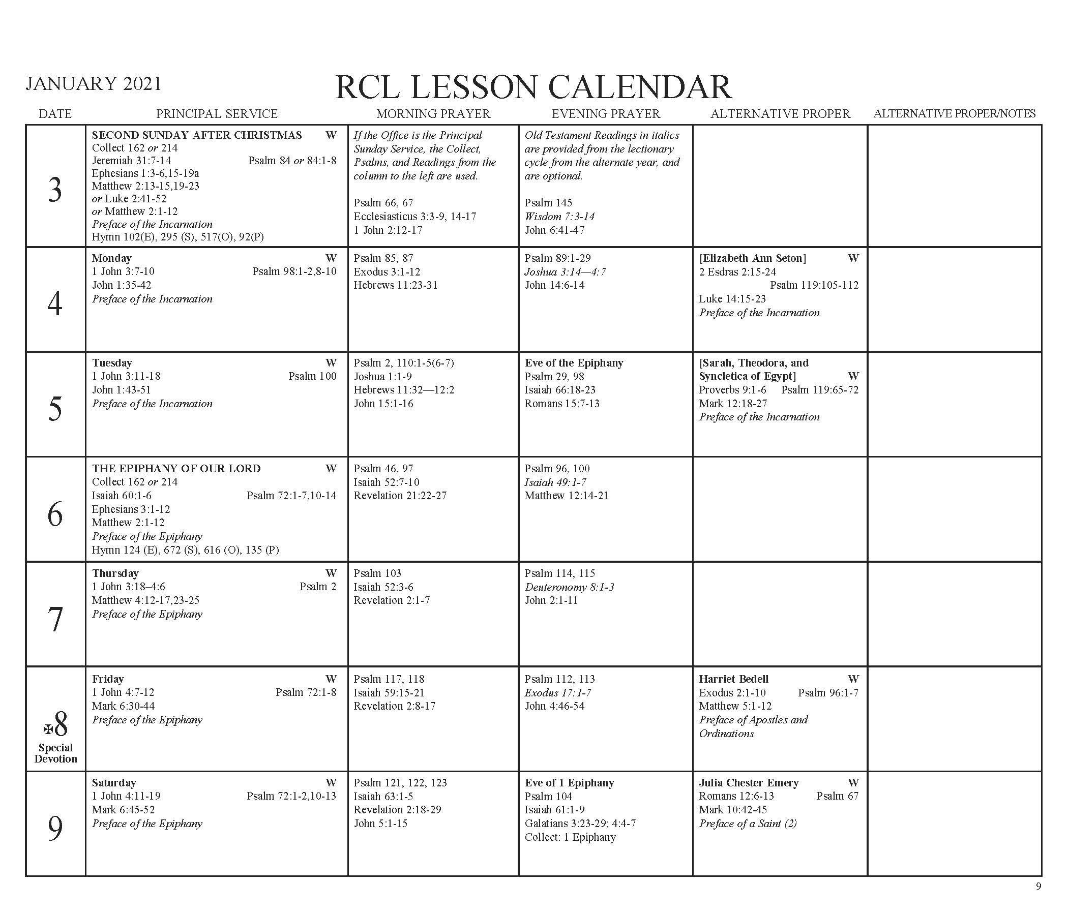 Revised Common Lectionary Calendar | Free Calendar Template