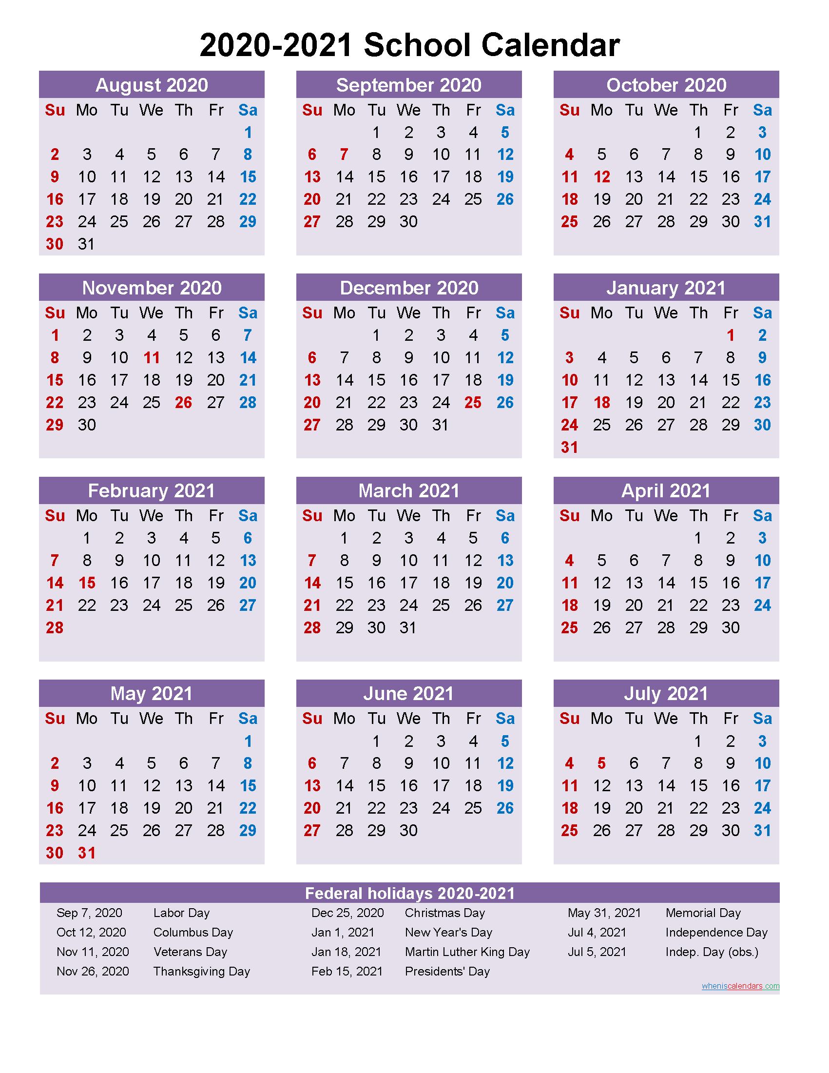 School Calendar 2020 And 2021 Printable (Portrait)- Template
