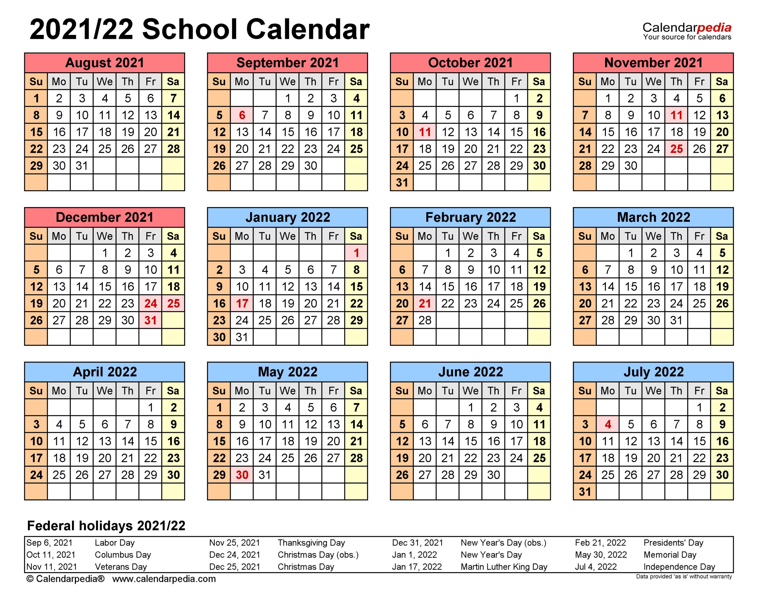 School Calendars 2021/2022 - Free Printable Excel Templates