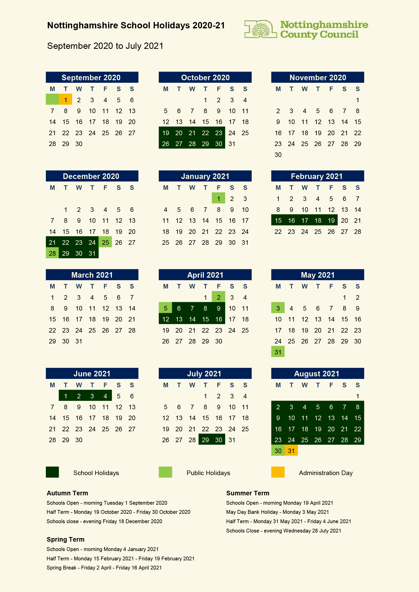 School Term Dates & Inset Days – South Wilford Endowed