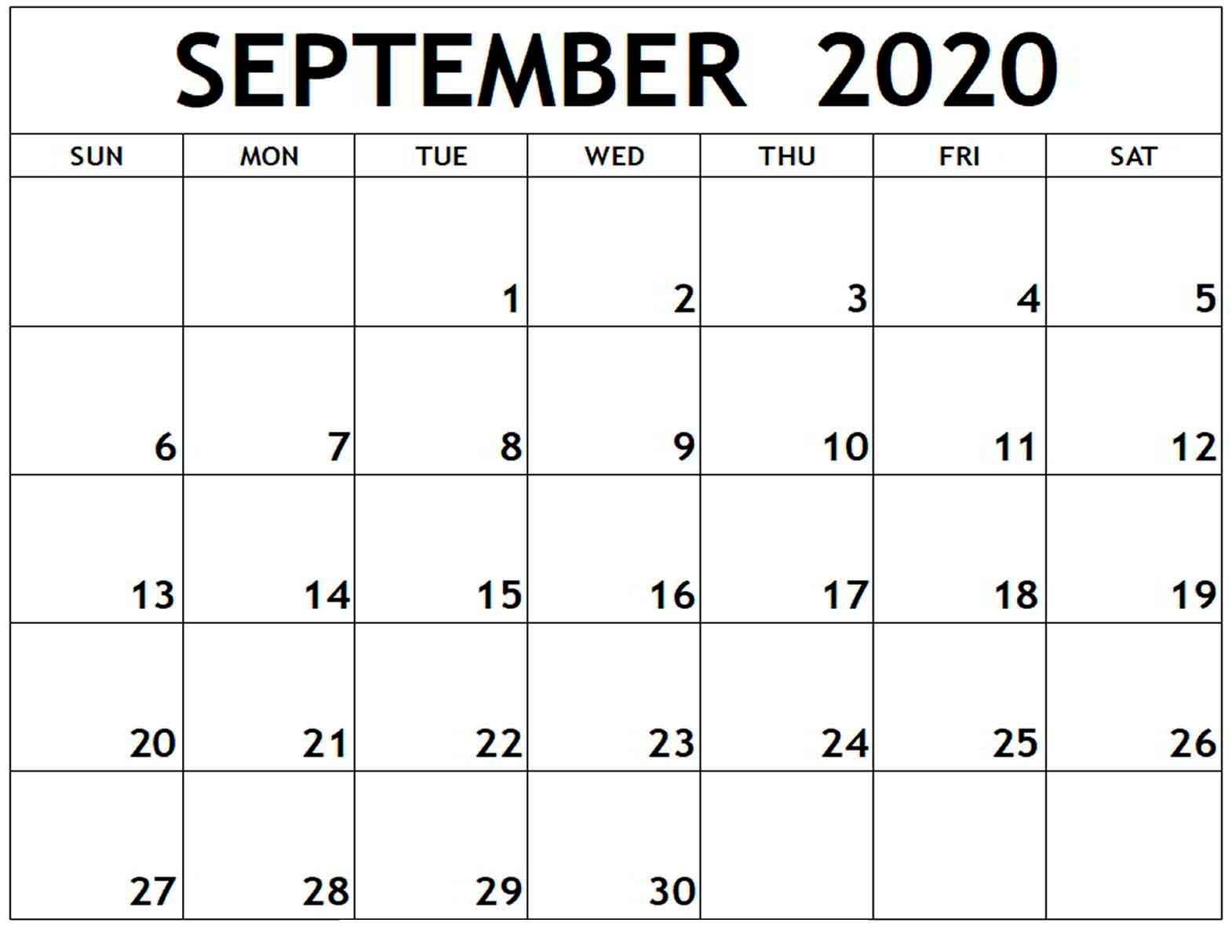 September 2020 Monthly Calendar - Calendar Word