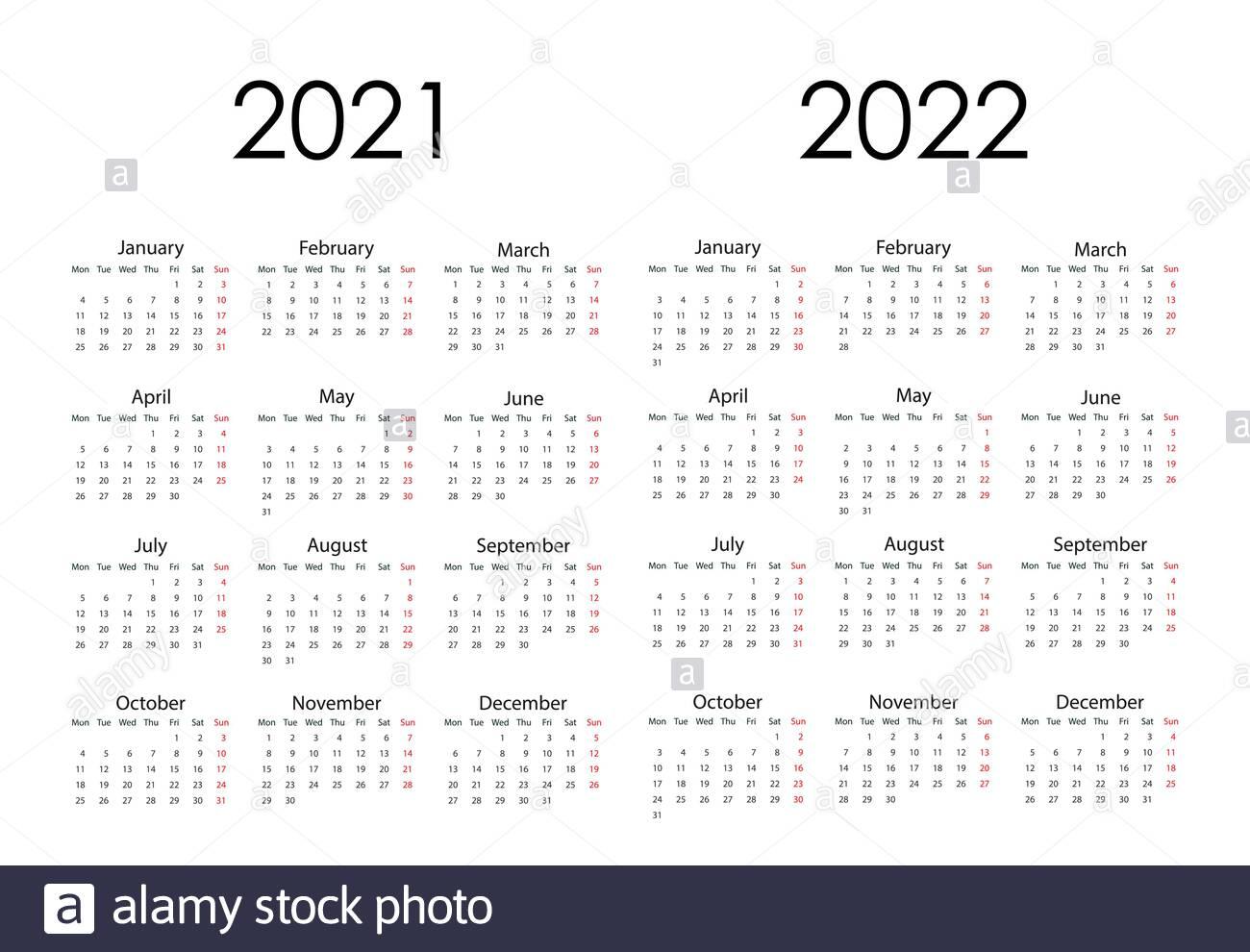 Simple 2022 Year Calendar Week Stockfotos Und -Bilder Kaufen