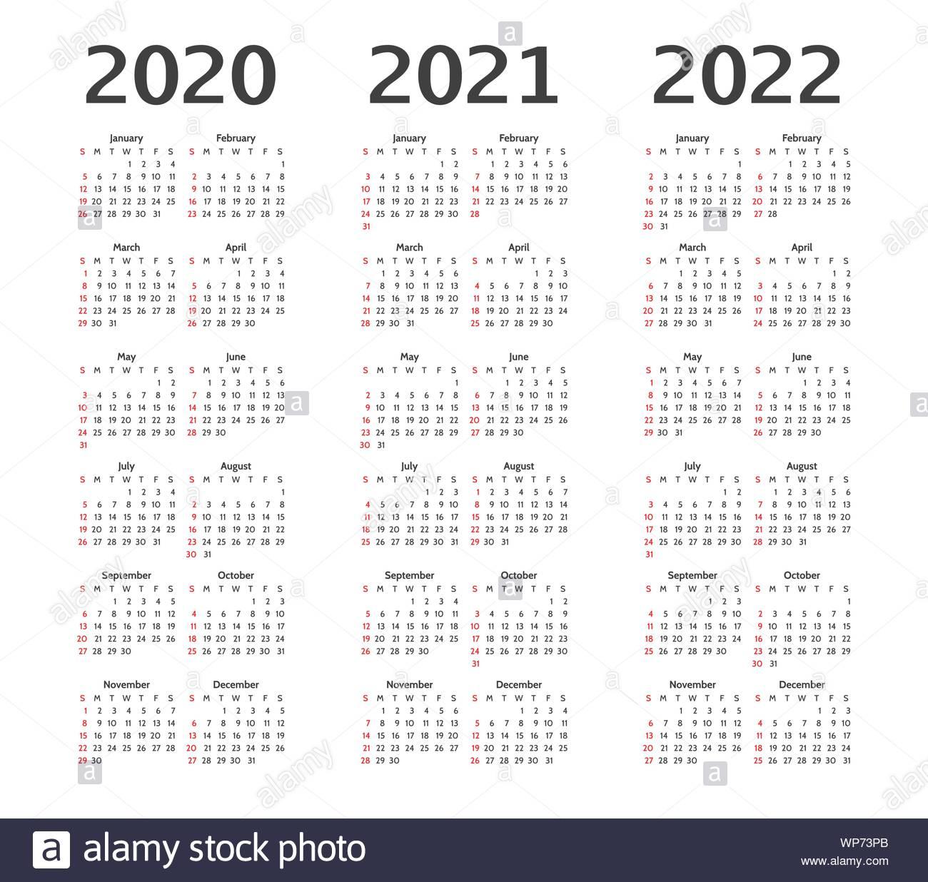 Simple Calendar Layout For 2020, 2021, 2022 Years. Week