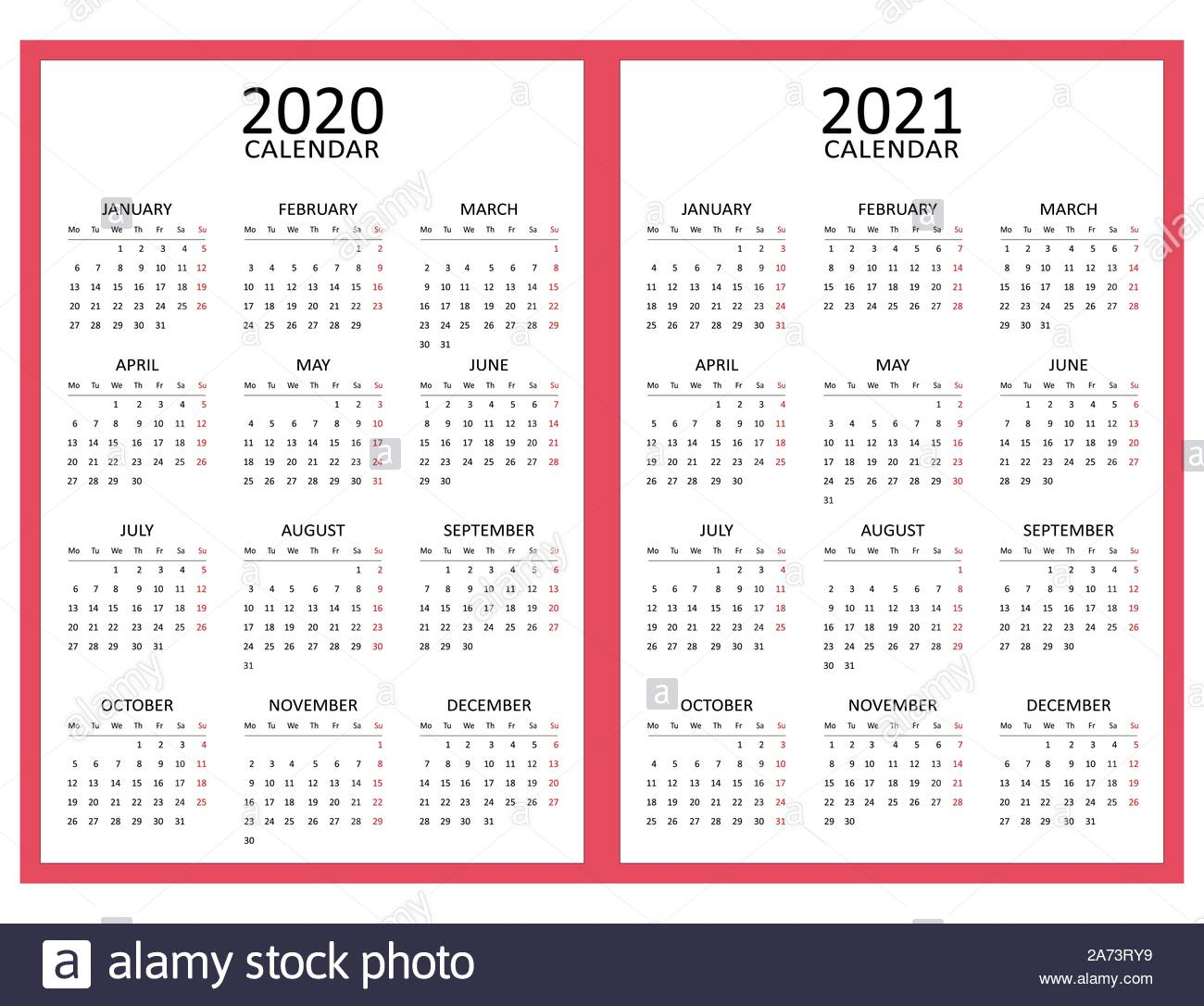 Simple Calendar Layout For Two Years 2020 And 2021. Starts