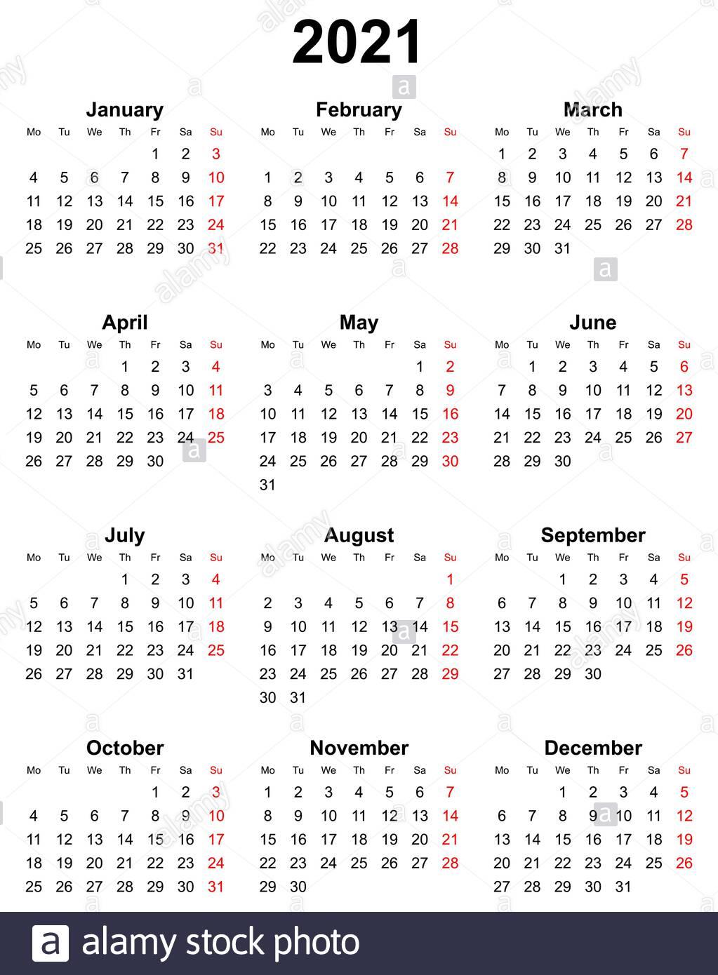 Simple Editable Vector Calendar For Year 2021 Sundays In Red